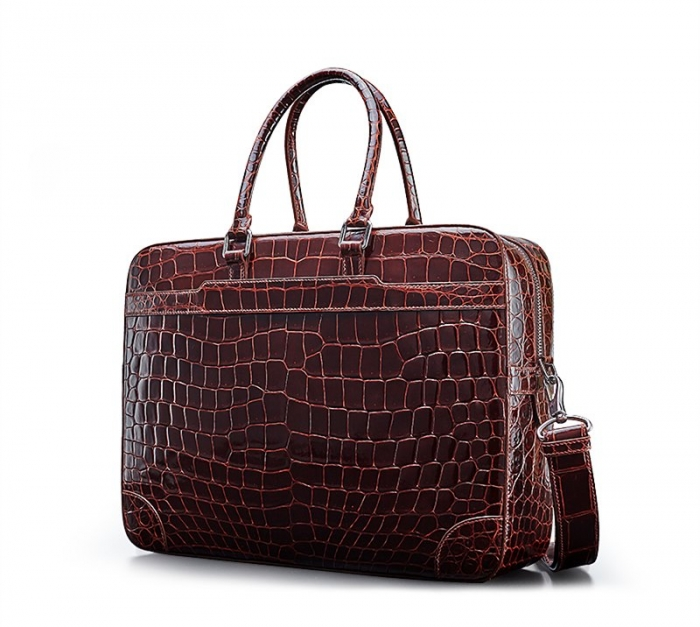 Mens Alligator Briefcase Laptop Bag Messenger Bag-Micro-Side