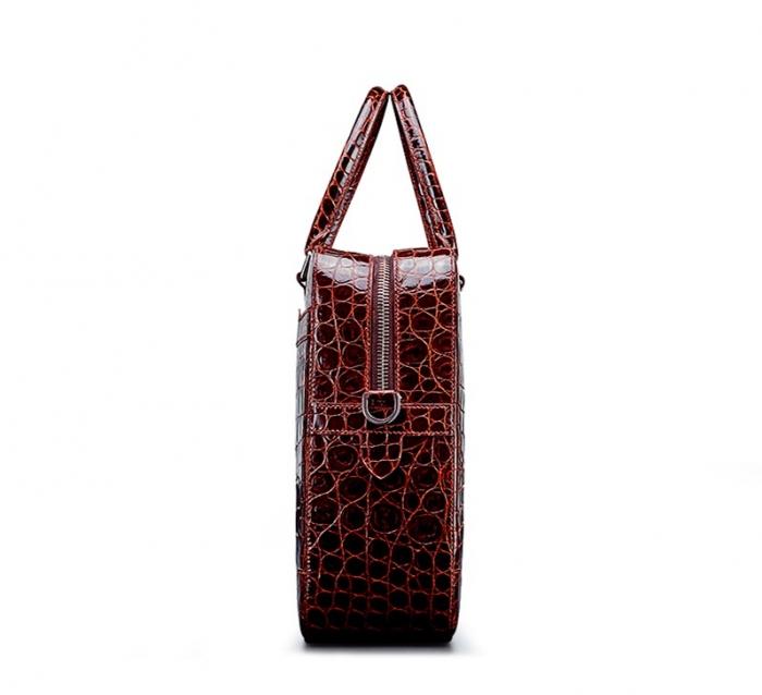 Mens Alligator Briefcase Laptop Bag Messenger Bag-Side
