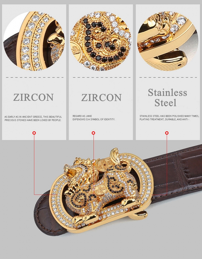 Natural Zircons and Kylin Pattern Pin Buckle-Details