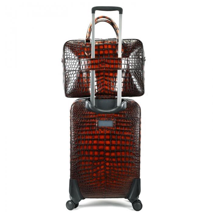 Traveler Alligator Leather 2pc Spinner Luggage Set-Back