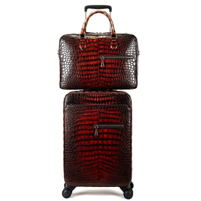 Traveler Alligator Leather 2pc Spinner Luggage Set-Burgundy