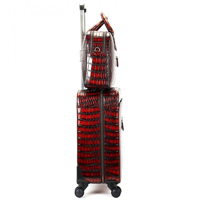 Traveler Alligator Leather 2pc Spinner Luggage Set-Side
