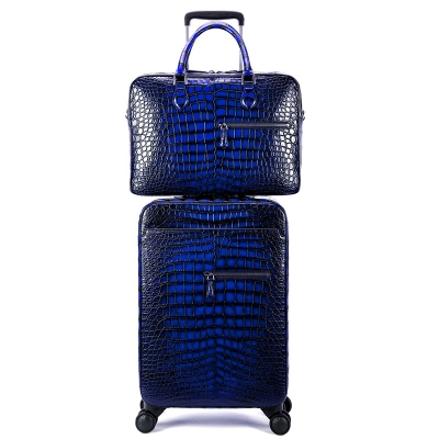 Traveler Genuine Alligator Leather 2 Piece Spinner Luggage Set-Blue