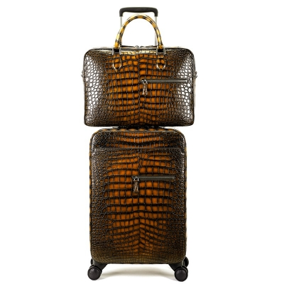 Traveler Genuine Alligator Leather 2 Piece Spinner Luggage Set-Brown