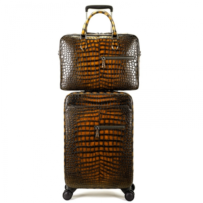 Traveler Genuine Alligator Leather 2 Piece Spinner Luggage Set-Brown