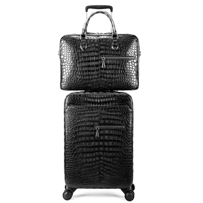 Traveler Genuine Alligator Leather 2 Piece Spinner Luggage Set-Gray