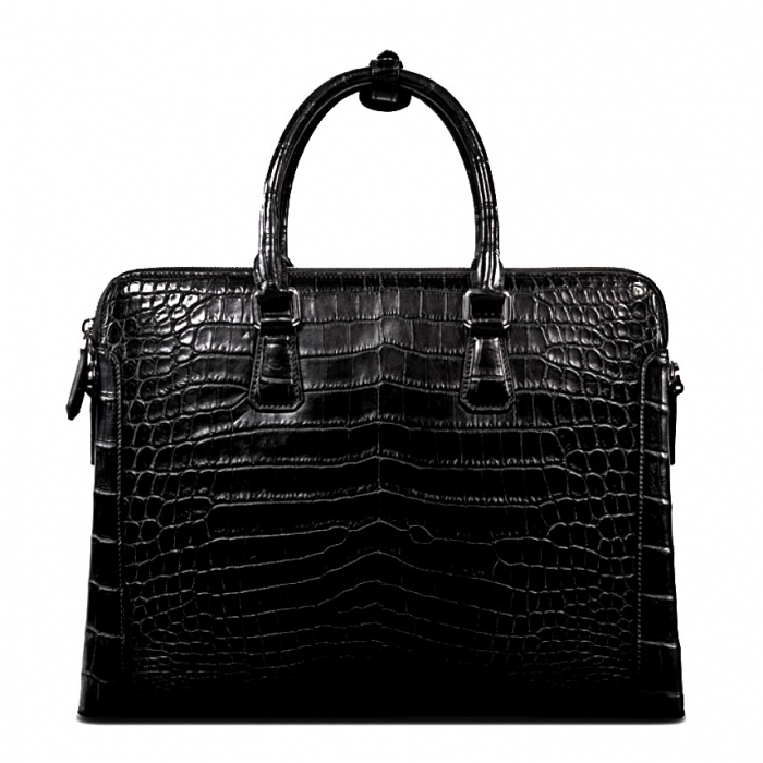 Alligator Leather Briefcase Laptop Attache Case for Men-Back