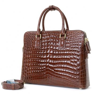 Alligator Leather Briefcase Laptop Attache Case for Men-Brown-1