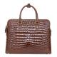 Alligator Leather Briefcase Laptop Attache Case for Men-Brown