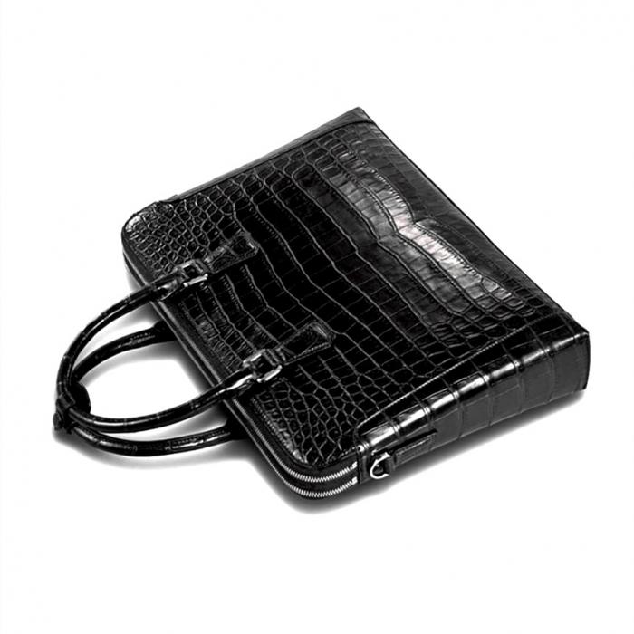 Alligator Leather Briefcase Laptop Attache Case for Men-Top