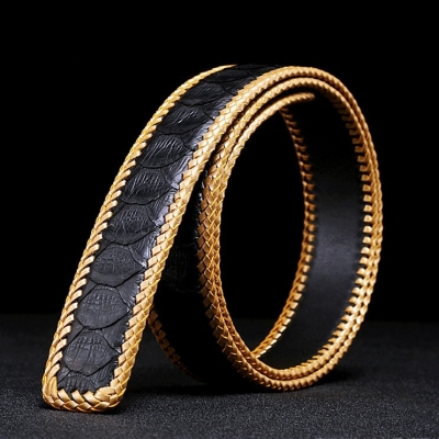 Casual Snakeskin Belt Python Skin Braided Belt-Black
