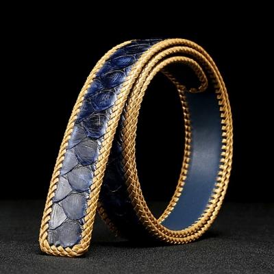Casual Snakeskin Belt Python Skin Braided Belt-Blue