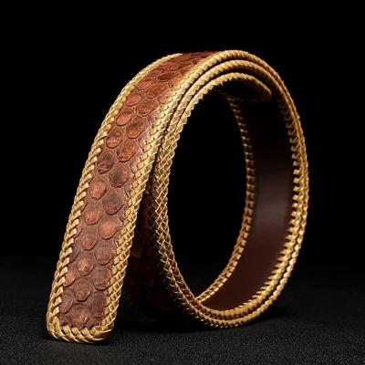 Casual Snakeskin Belt Python Skin Braided Belt-Brown