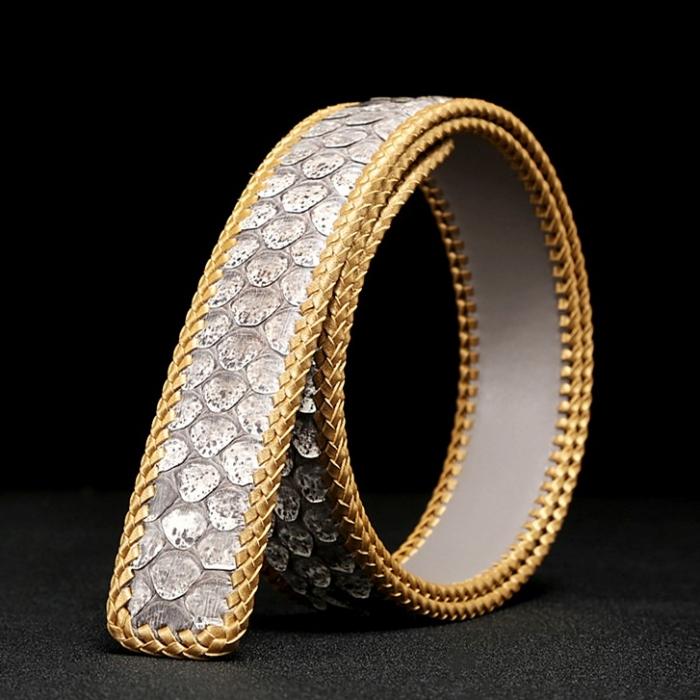 Casual Snakeskin Belt Python Skin Braided Belt-White