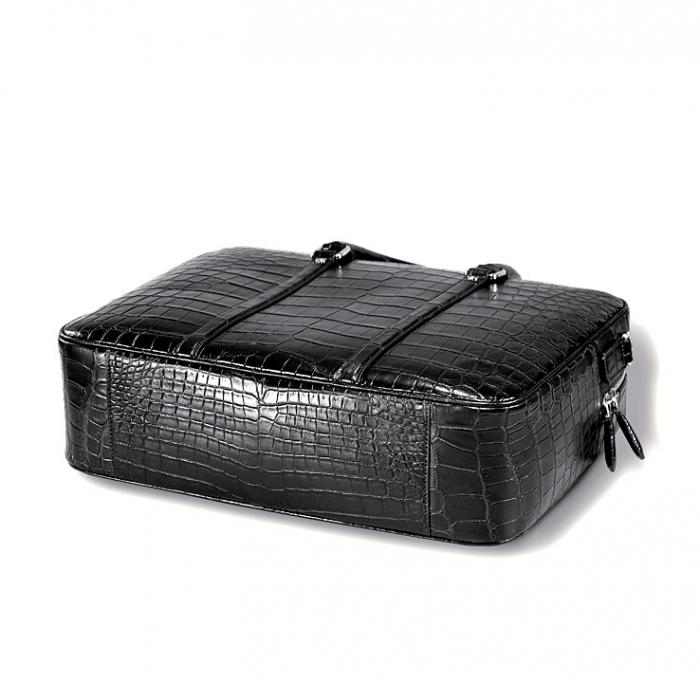 Classic Alligator Leather Laptop Briefcase Business Bag for Men-Bottom