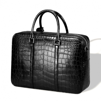 Classic Alligator Leather Laptop Briefcase Business Bag for Men-Micro side