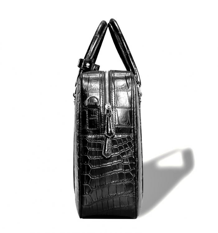 Classic Alligator Leather Laptop Briefcase Business Bag for Men-Side