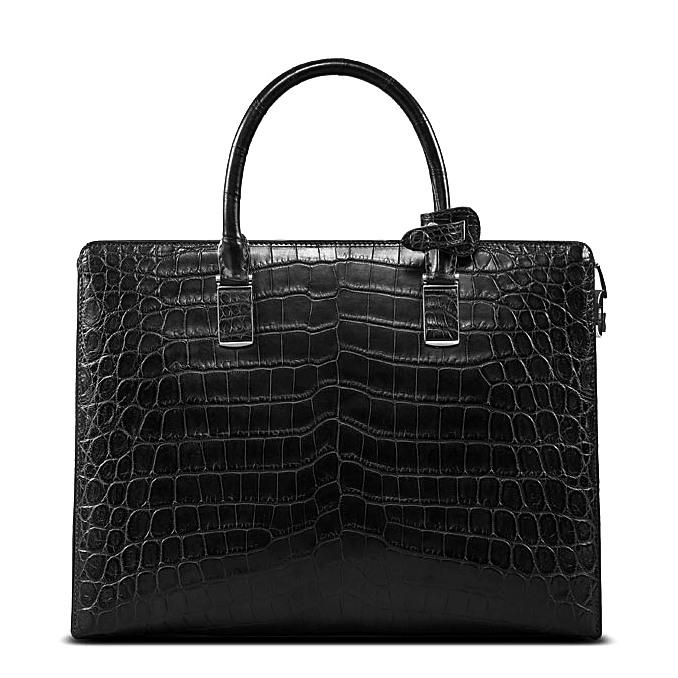 Formal Alligator Leather Briefcase Laptop Business Bag for Men-Back