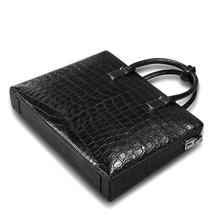 Formal Alligator Leather Briefcase Laptop Business Bag for Men-Bottom