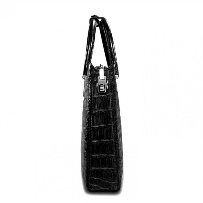 Formal Alligator Leather Briefcase Laptop Business Bag for Men-Side