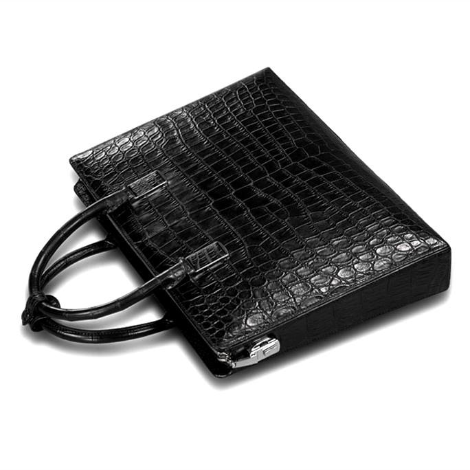 Formal Alligator Leather Briefcase Laptop Business Bag for Men-Top