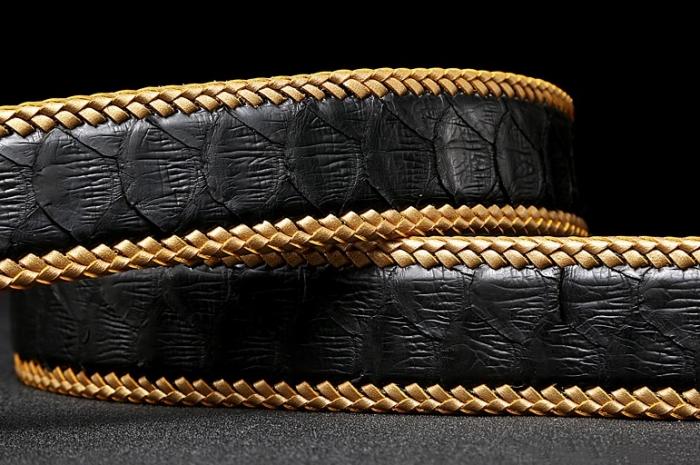 Python Skin Braided Belt-Black-1