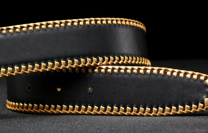 Python Skin Braided Belt-Black-2