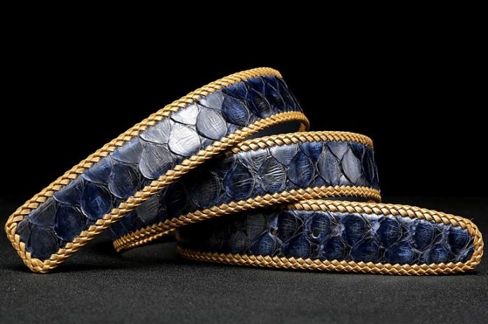 Python Skin Braided Belt-Blue