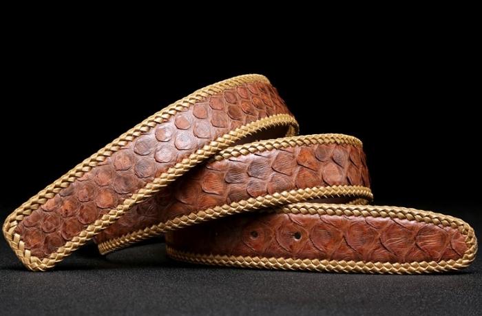 Python Skin Braided Belt-Brown