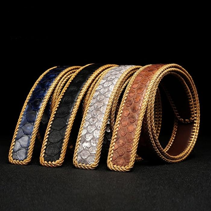 Snakeskin Belt Python Skin Braided Belt