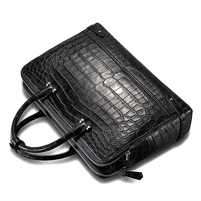Alligator Leather Double Compartment Briefcase Laptop Bag-1