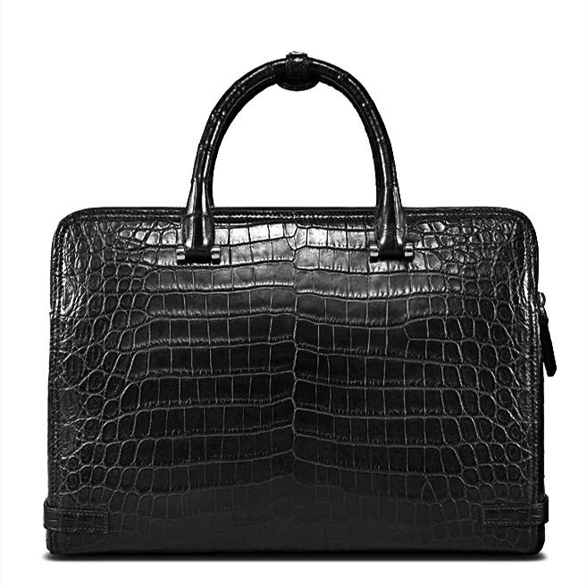 Alligator Leather Double Compartment Briefcase Laptop Bag for Men-Back