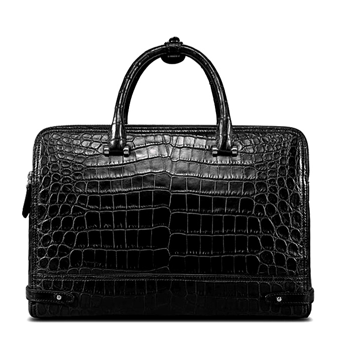 Alligator Leather Double Compartment Briefcase Laptop Bag for Men