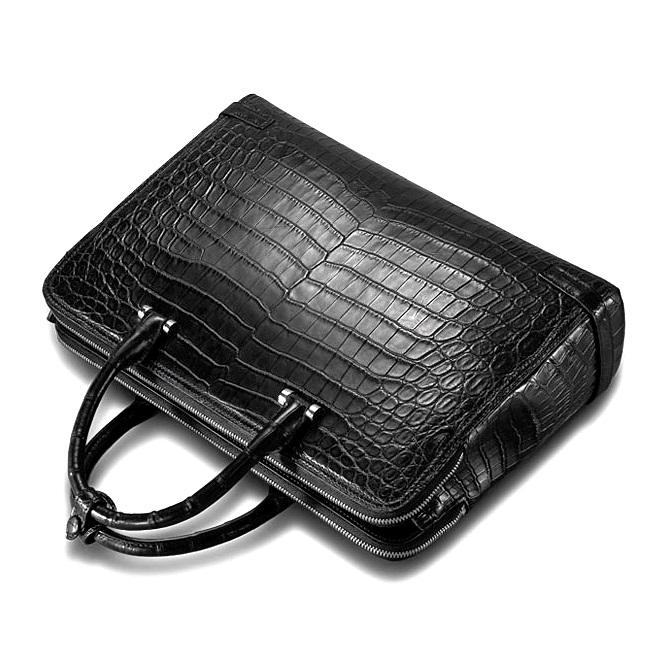 Alligator Leather Double Compartment Briefcase Laptop Bag