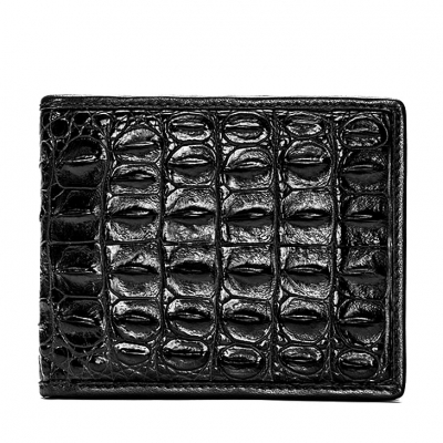 Crocodile Backbone Skin Bifold Wallet-Black