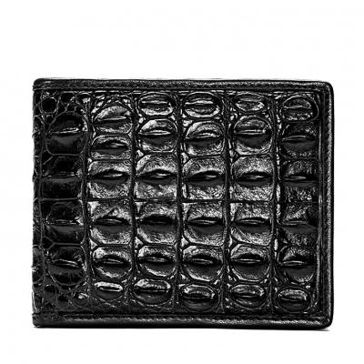 Crocodile Backbone Skin Bifold Wallet-Black