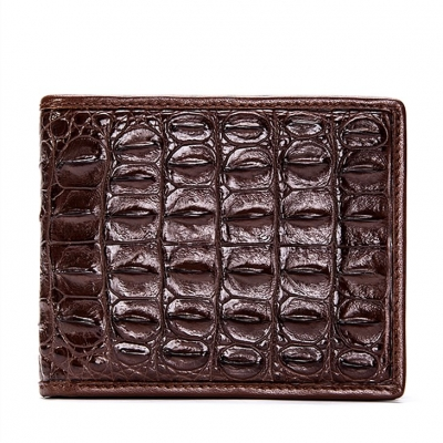 Crocodile Backbone Skin Bifold Wallet-Brown
