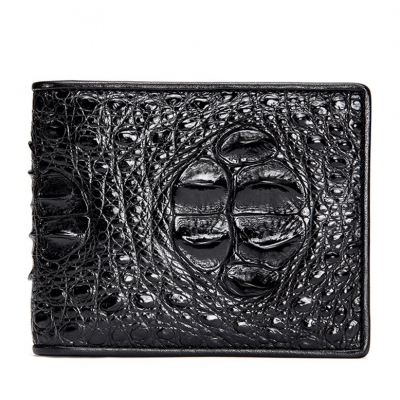 Crocodile Hornback Skin Bifold Wallet-Black