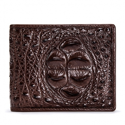 Crocodile Hornback Skin Bifold Wallet-Brown
