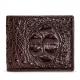 Crocodile Hornback Skin Bifold Wallet-Brown