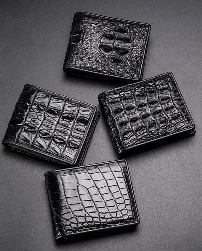 Crocodile Skin Bifold Wallet-Black