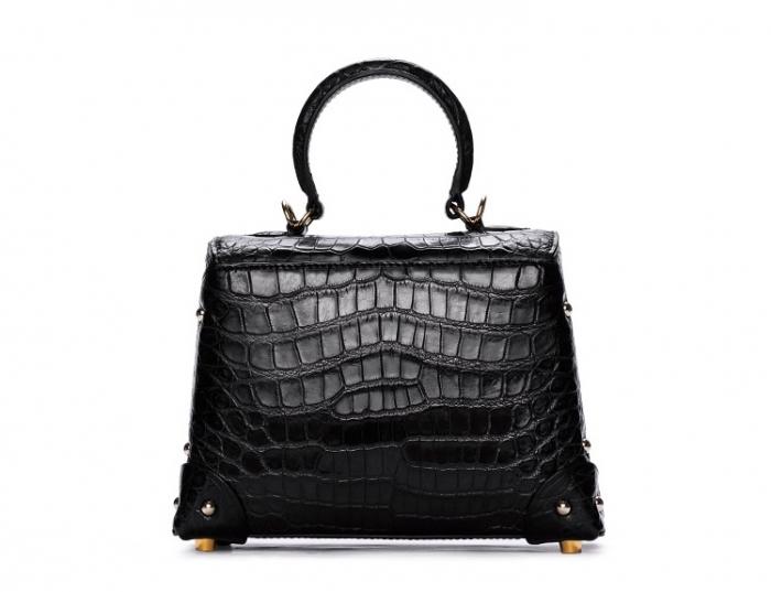 Designer Alligator Top Handle Purse Shoulder Handbag-Back