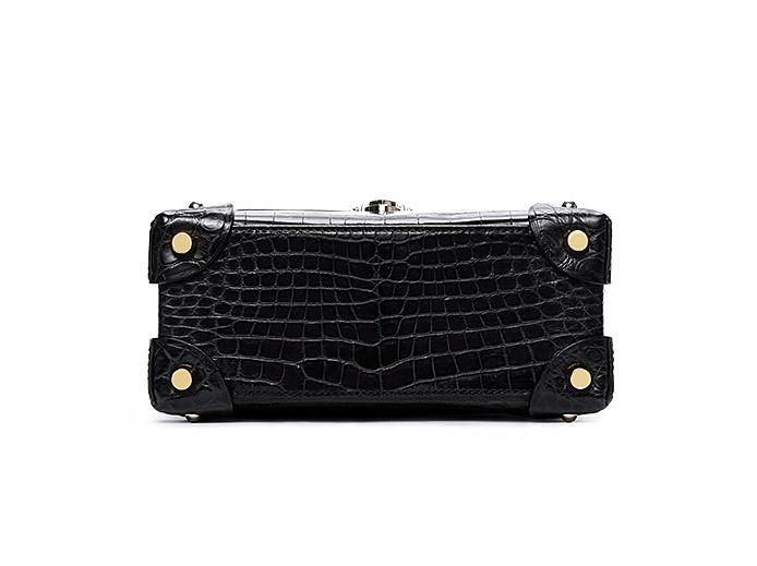 Designer Alligator Top Handle Purse Shoulder Handbag-Bottom