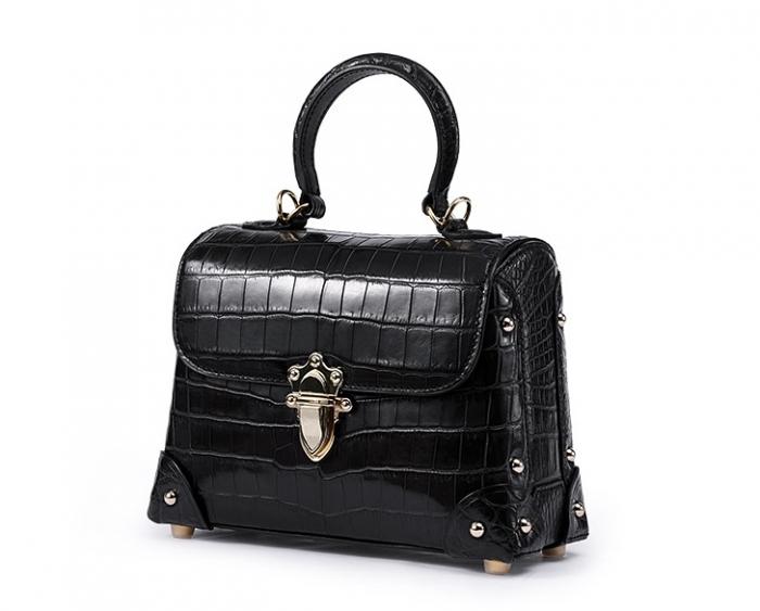 Designer Alligator Top Handle Purse Shoulder Handbag-Micro side