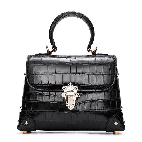 Designer Alligator Top Handle Purse Shoulder Handbag