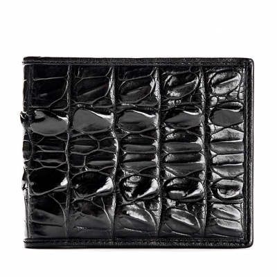 Mens Crocodile Tail Skin Bifold Wallet - Black