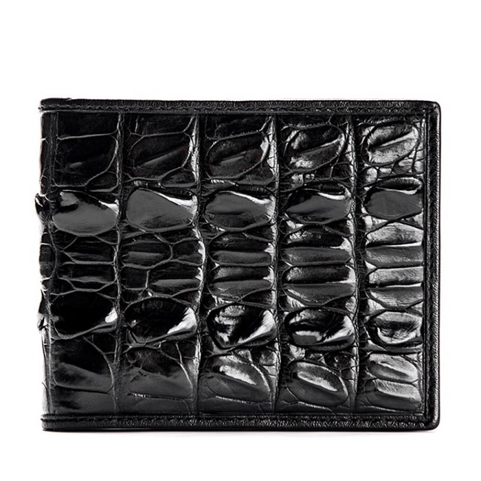 Mens Crocodile Tail Skin Bifold Wallet - Black