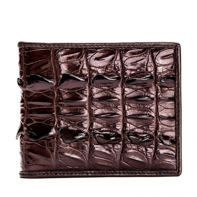 Mens Crocodile Tail Skin Bifold Wallet - Brown