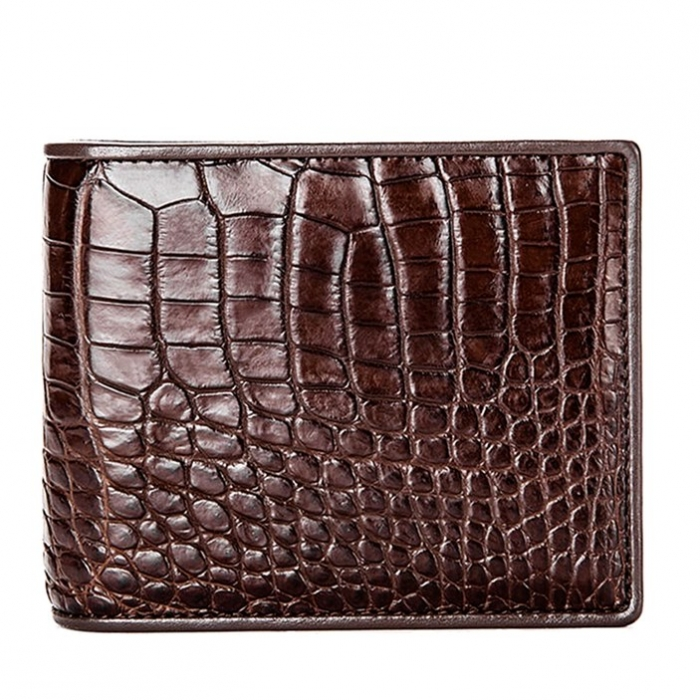 Premium Crocodile Bifold Skin Wallet for Men-Brown
