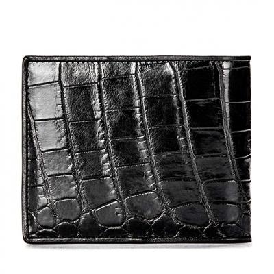 Premium Crocodile Bifold Wallet for Men-Black-Back